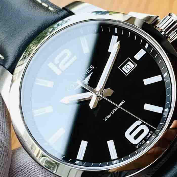 Đồng hồ  Longnies L37604563 Conquest Black Dial Black Leather Men's Watch